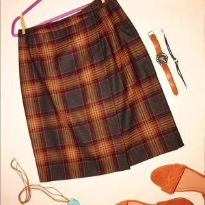 Vintage orange and grey plaid skirt